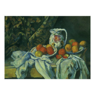 Still Life w Curtain Flowered Pitcher by Cezanne Poster