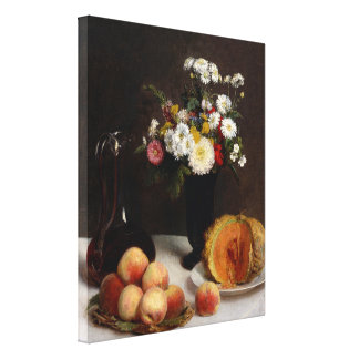 Still Life with a Carafe, Flowers and Fruit Canvas Print