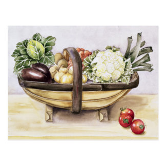 Still life with a trug of vegetables 1996 postcard