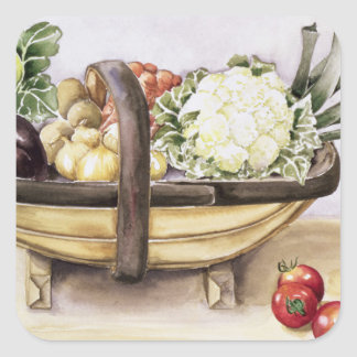 Still life with a trug of vegetables 1996 square sticker