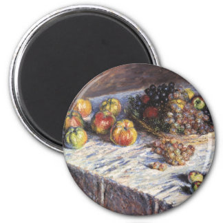Still Life with Apples and Grapes by Claude Monet 6 Cm Round Magnet