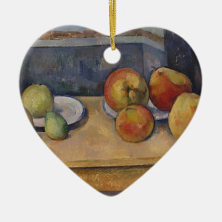 Still Life with Apples and Pears Ceramic Heart Decoration
