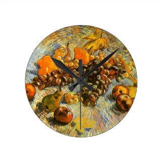 Still Life with Apples, Pears, Grapes - Van Gogh Clocks
