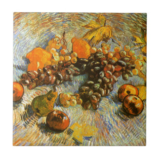 Still Life with Apples, Pears, Grapes - Van Gogh Small Square Tile