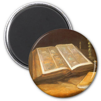 Still Life with Bible by Vincent van Gogh 6 Cm Round Magnet