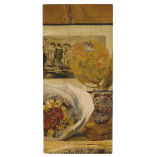 Still Life with Bouquet by Pierre-Auguste Renoir Wood USB 2.0 Flash Drive