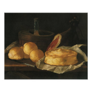 Still Life with Bread Tart and Ham, Giuseppe Recco Poster