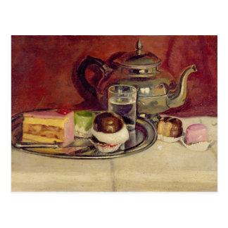 Still Life with Cakes and a Silver Teapot (oil on Postcard