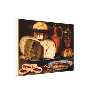 Still Life with Cheeses, Almonds and Pretzels Canvas Print
