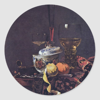 Still Life With Chinese Tureen By Kalf Willem Classic Round Sticker