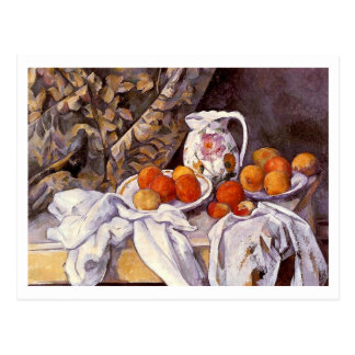 Still Life with Curtain by Paul Cezanne Postcard