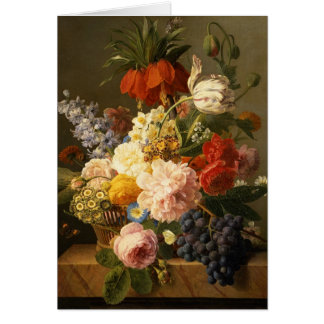 Still Life with Flowers and Fruit, 1827 Card