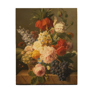 Still Life with Flowers and Fruit, 1827 Wood Prints