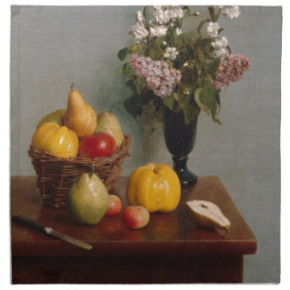 Still Life with Flowers and Fruit Napkin