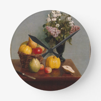 Still Life with Flowers and Fruit Round Clock