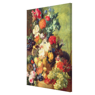 Still Life with Flowers and Fruit Stretched Canvas Print