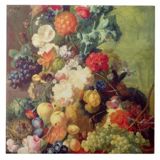 Still Life with Flowers and Fruit Tile