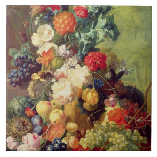 Still Life with Flowers and Fruit Ceramic Tiles