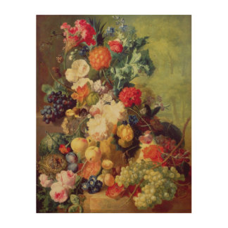 Still Life with Flowers and Fruit Wood Canvas