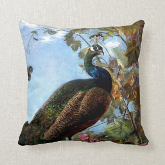 Still Life with Flowers and Peacock Bird Floral Throw Pillow