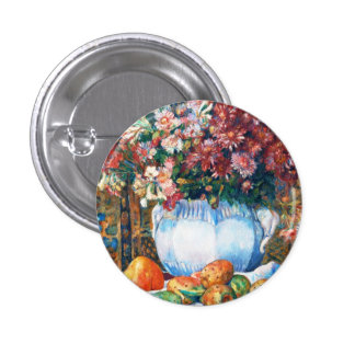 Still Life with Flowers and Prickly Pears Renoir Pinback Button