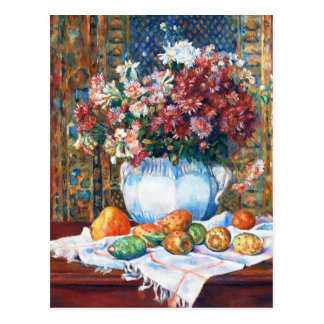 Still Life with Flowers and Prickly Pears Renoir Postcard