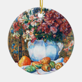 Still Life with Flowers and Prickly Pears Renoir Round Ceramic Decoration