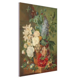 Still Life With Flowers in a Terracotta Vase Canvas Print