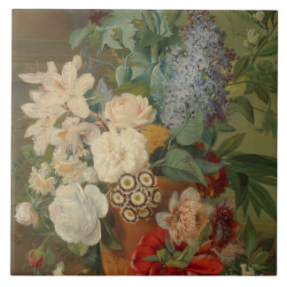 Still Life With Flowers in a Terracotta Vase Ceramic Tile