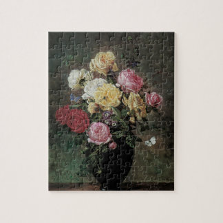 Still Life with Flowers in Vase by Olaf Hermansen Jigsaw Puzzle
