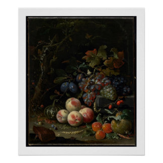 Still Life with Fruit, Foliage and Insects, c.1669 Print