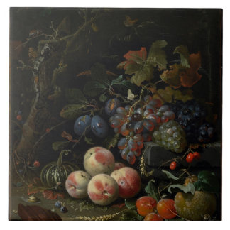 Still Life with Fruit, Foliage and Insects, c.1669 Tile