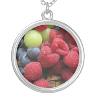 Still life with fruits silver plated necklace