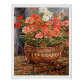 Still life with geraniums in a bronze bowl, 1880 posters