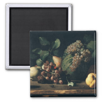 Still Life with Grapes and Pomegranate Square Magnet