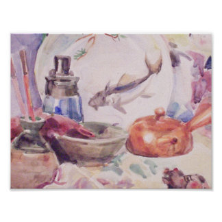 still life with Japanese utensils Poster