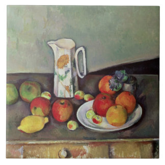 Still life with milk jug and fruit, c.1886-90 (oil tiles