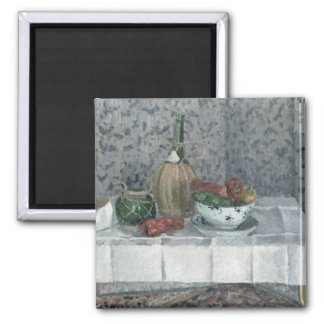 Still Life with Peppers, 1899 (oil on canvas) Square Magnet