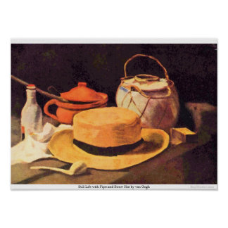 Still Life with Pipe and Straw Hat by van Gogh Print