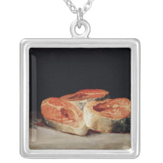 Still Life with Slices of Salmon, 1808-12 Square Pendant Necklace