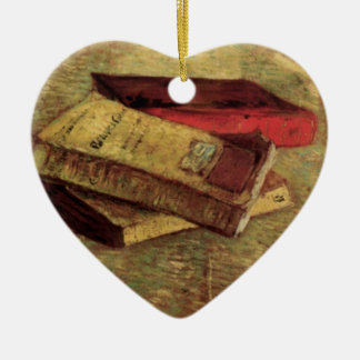 Still Life with Three Books by Vincent van Gogh Ceramic Heart Decoration