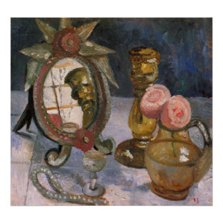 Still life with venetian mirror by Modersohn Poster