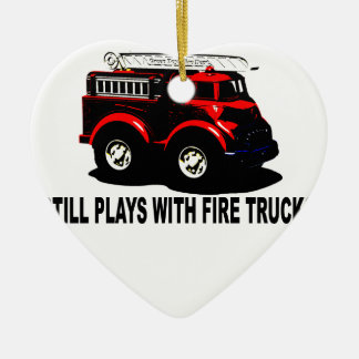 Still plays with firetrucks T-Shirts.png Ceramic Heart Decoration