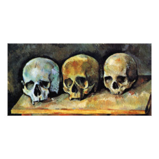 Still Three Skulls By Paul Cézanne (Best Quality) Custom Photo Card