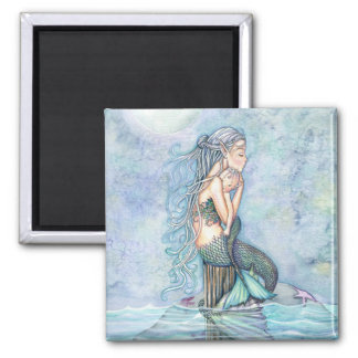 Still Waters Mermaid Mother and Infant Baby Shower Square Magnet