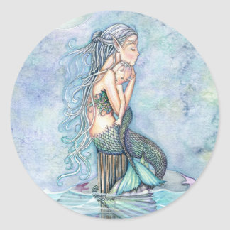 Still Waters Mother and Infant Mermaid Baby Shower Classic Round Sticker