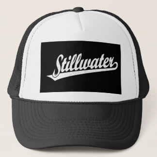 Stillwater script logo in white distressed trucker hat