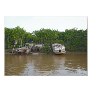 Stilt houses on Amazon river Card