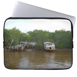 Stilt houses on Amazon river Laptop Sleeve
