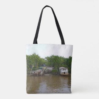 Stilt houses on Amazon river Tote Bag